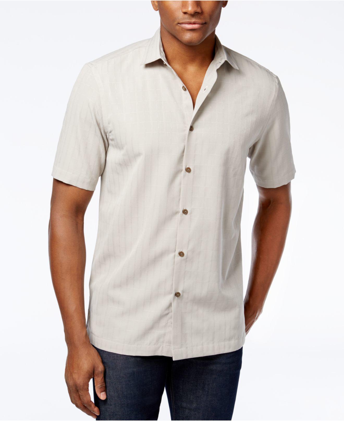 alfani s big grid pattern sleeve shirt in