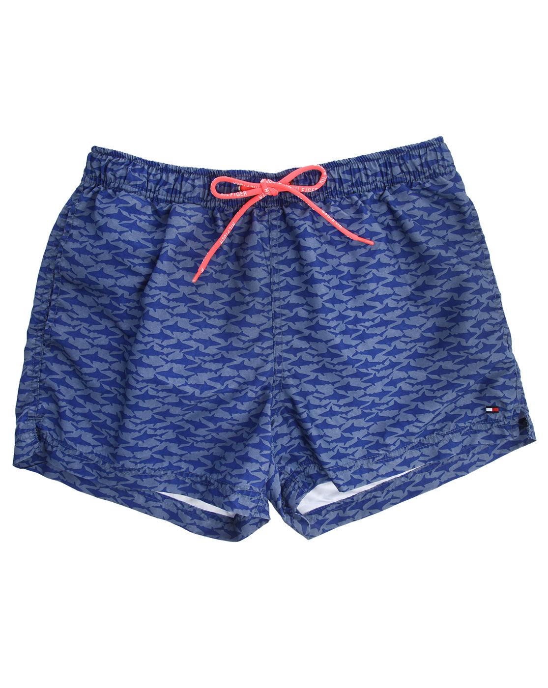 tommy hilfiger blue shark print swim shorts in blue for men lyst. Black Bedroom Furniture Sets. Home Design Ideas