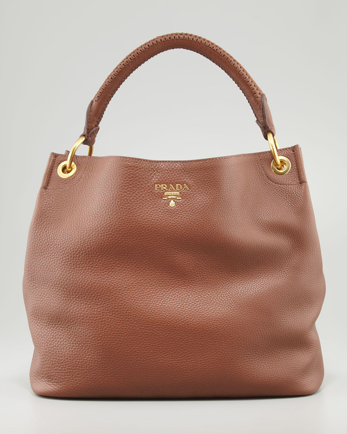 a70108c93ac2 ... usa lyst prada daino woven handle hobo bag in brown 9e45f 9bba6