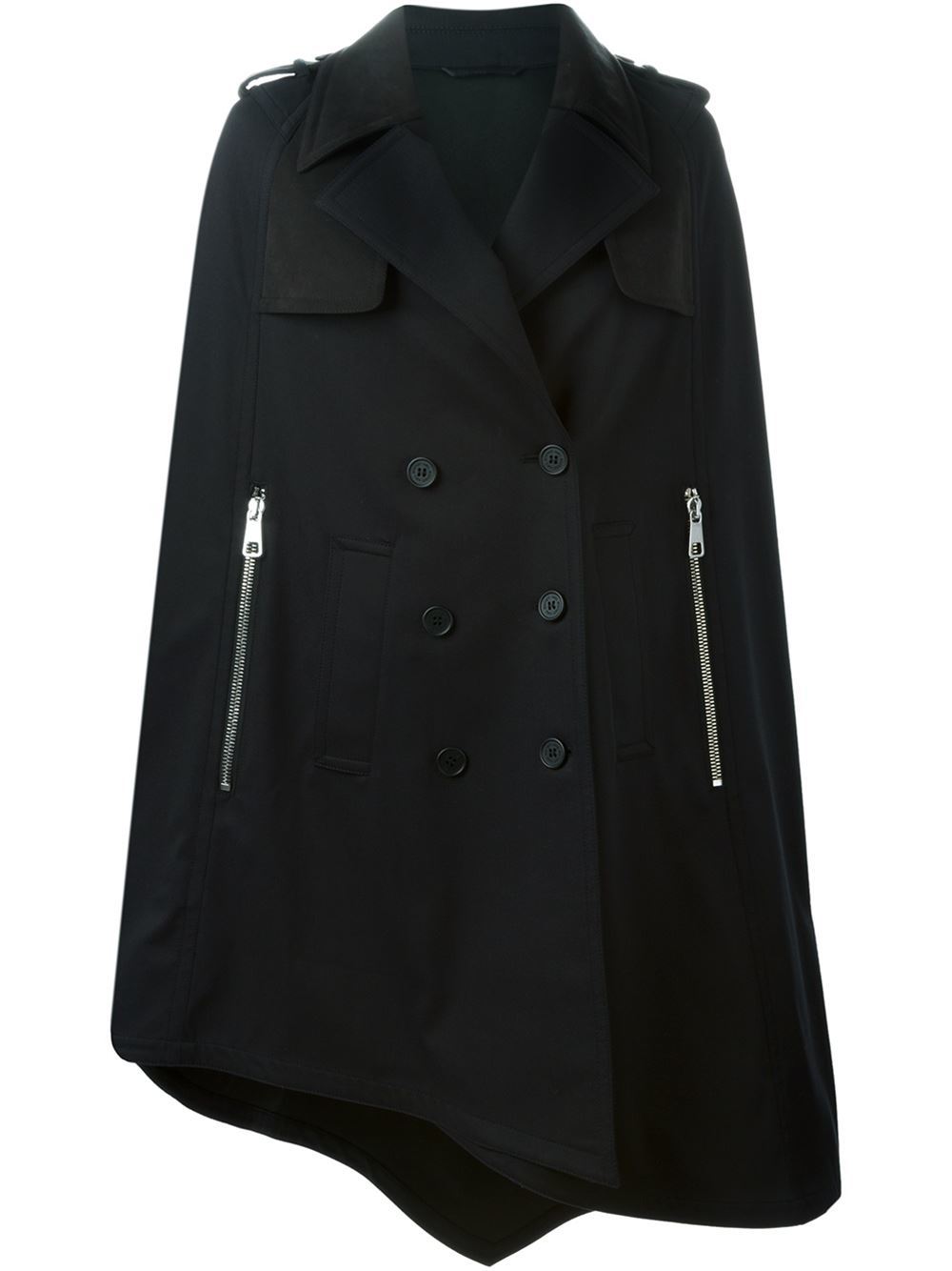 Neil Barrett Military Style Cape Coat In Black Lyst