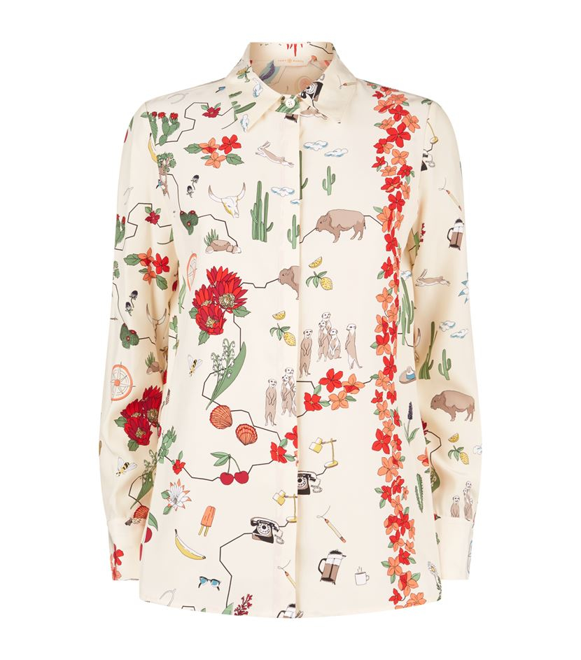 68b96e84242e8 Tory Burch Chilli Bird Print Silk Shirt - Lyst