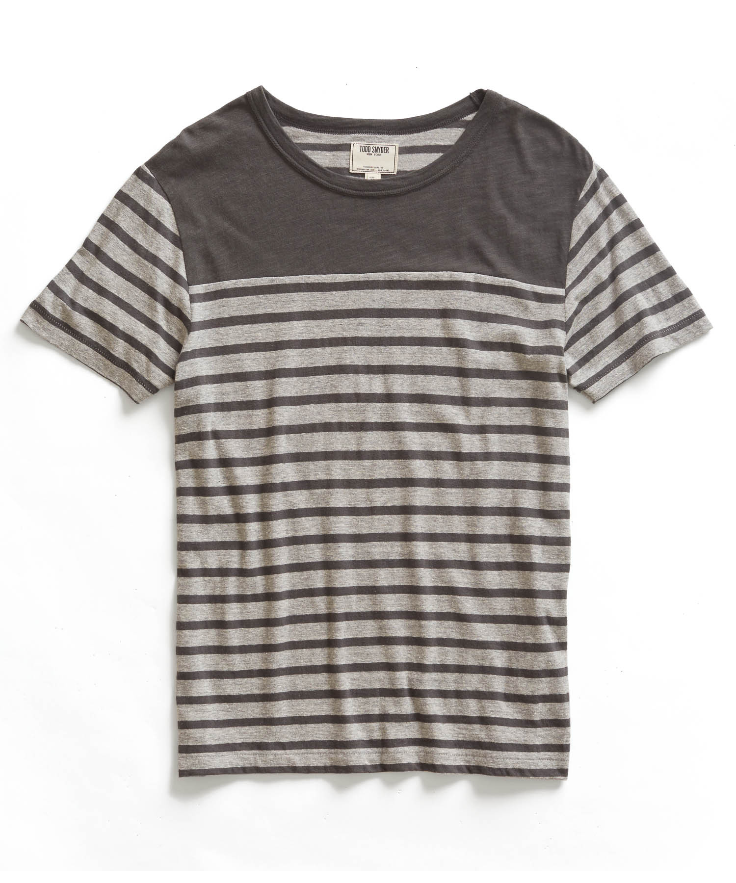 Todd snyder grey striped crew neck t shirt in gray for men Grey striped t shirt