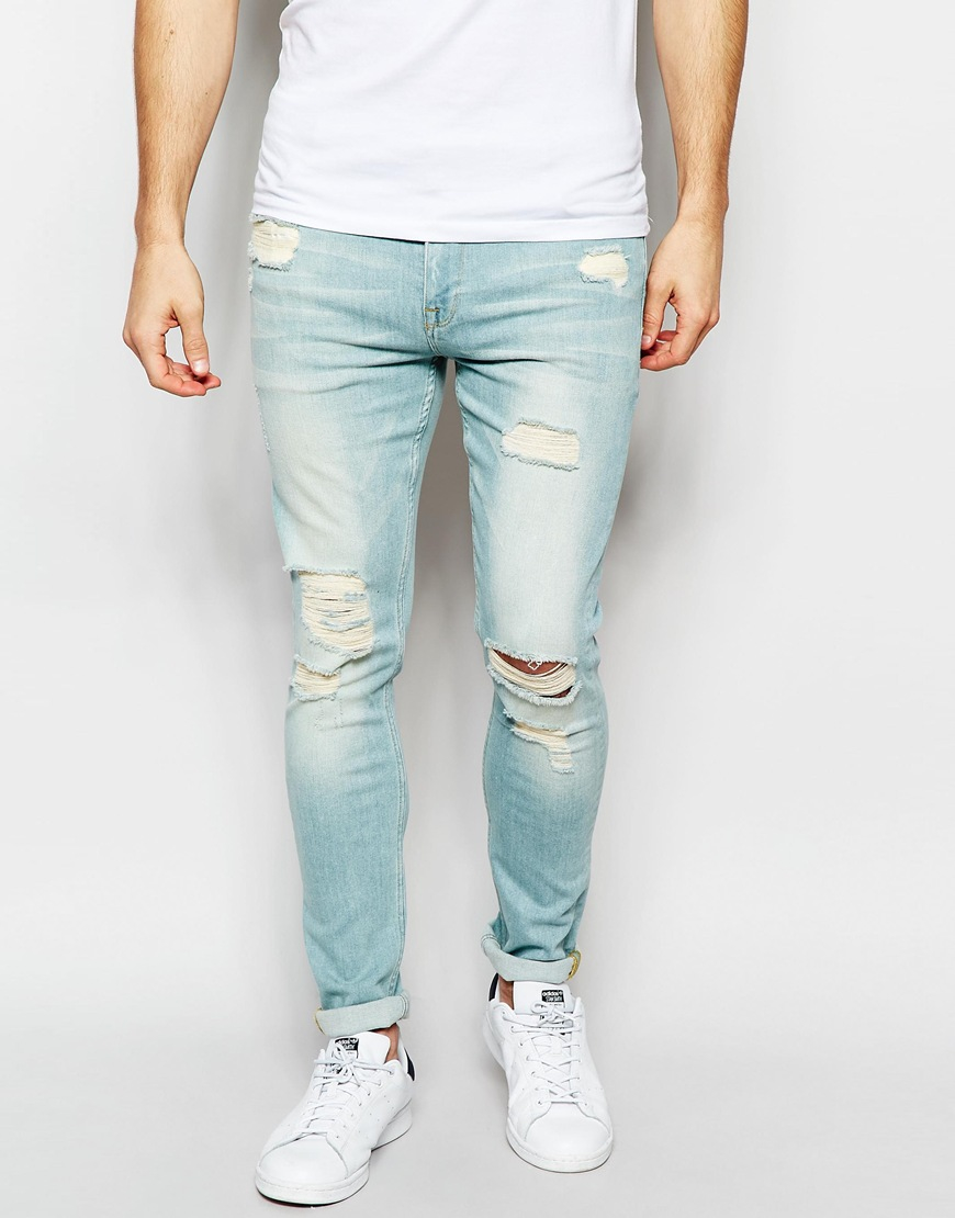 3748e5ced ASOS Super Skinny Jeans With Extreme Rips In Bleach Blue in Blue for ...