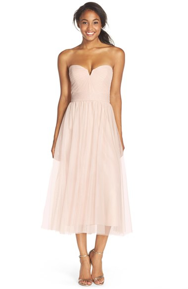 Amsale Pleat Tulle Strapless Tea Length Dress in Natural - Lyst