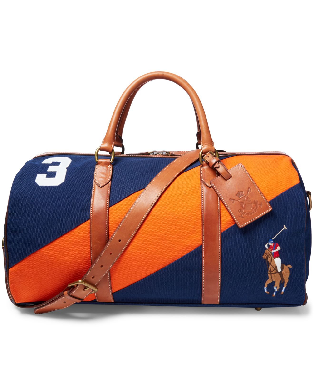 Polo ralph lauren navy orange canvas black watch leather detail duffel bag  blue product normal jpg 995f3361c9646