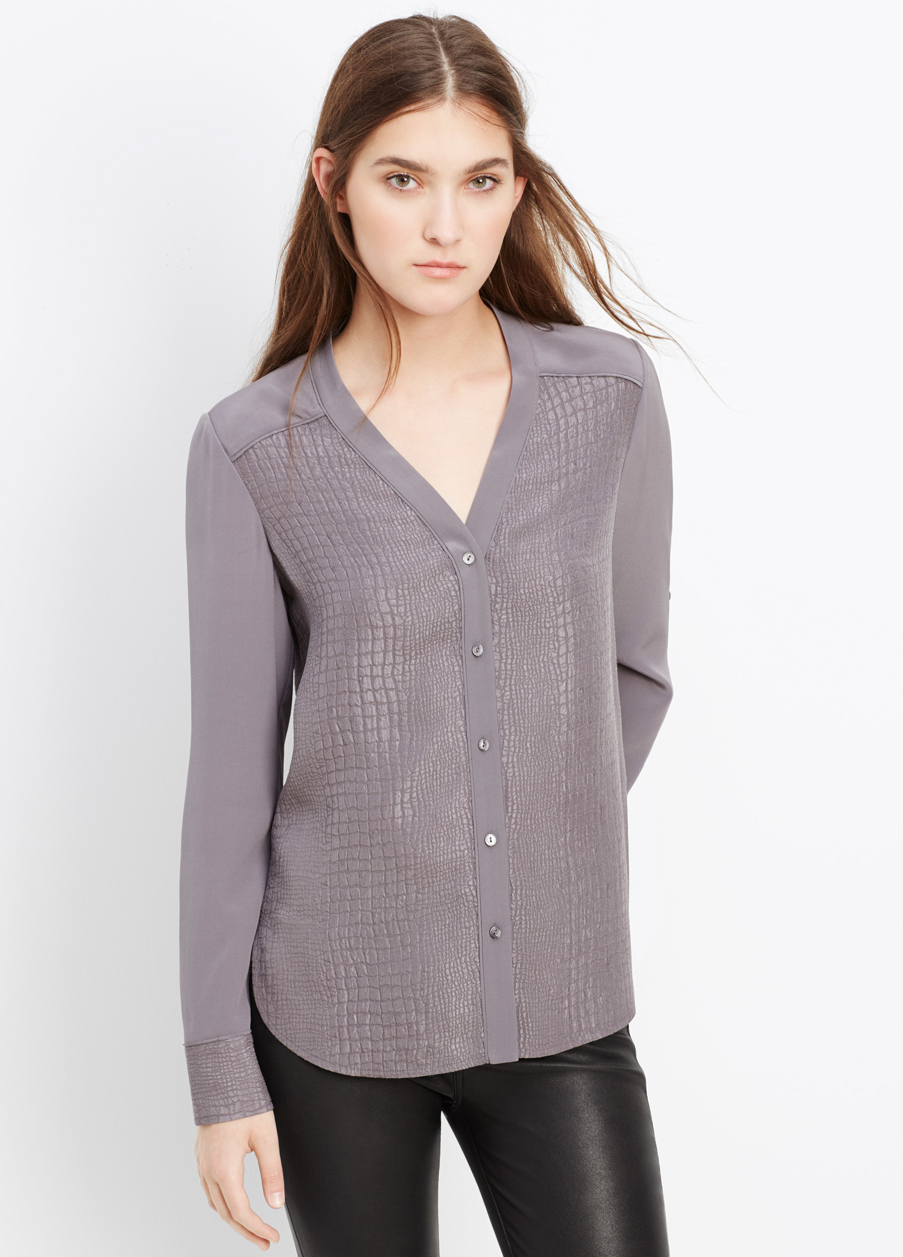 Vince Silk Croc Jacquard Blouse In Gray Lyst