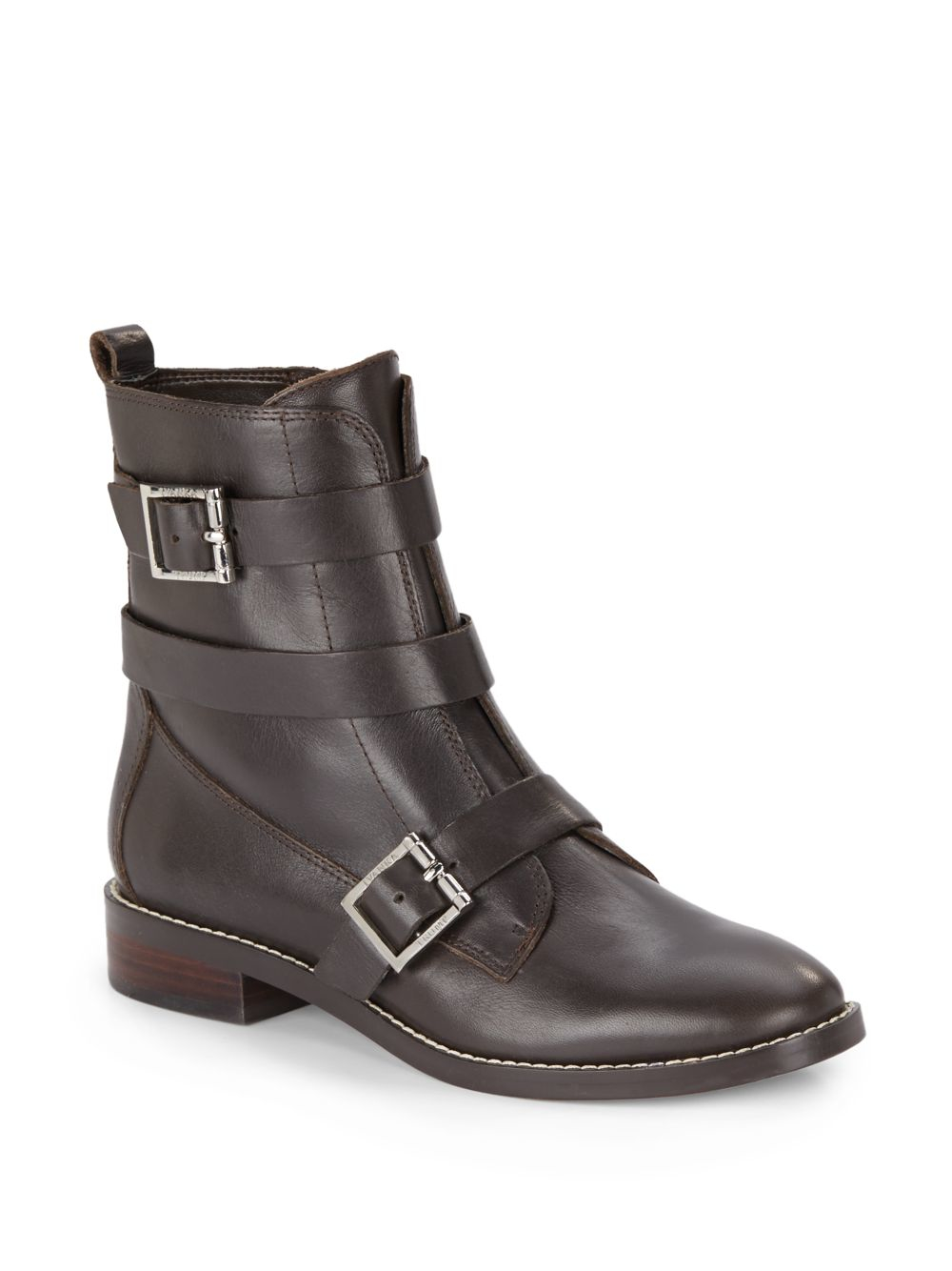 ivanka coris leather moto boots in brown lyst