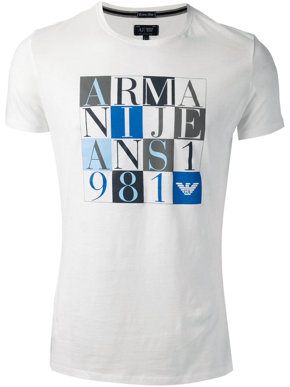 ff04ed1ce263 Lyst - Armani Jeans Logo T-Shirt in White for Men