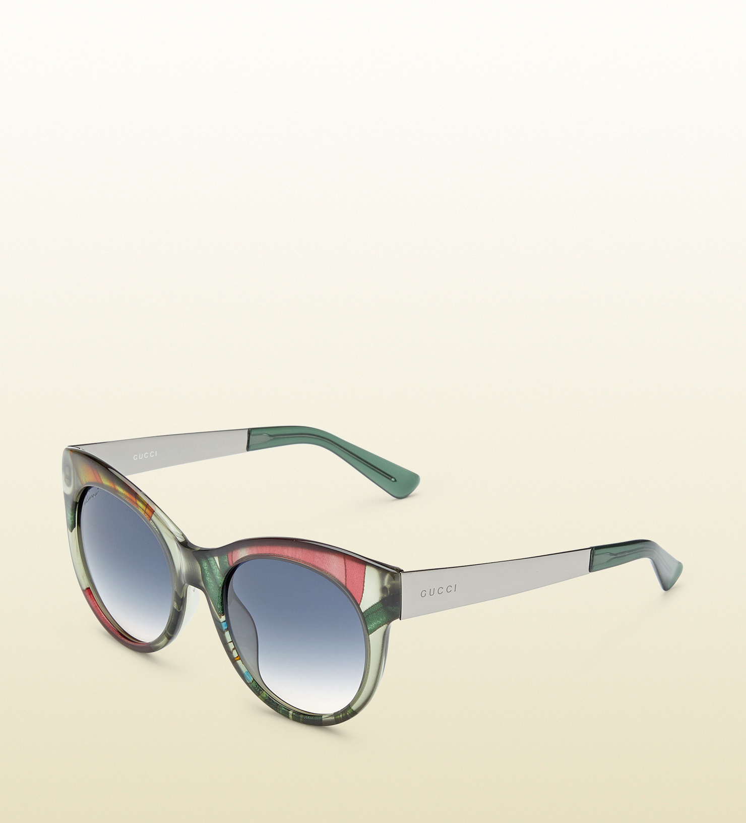 6f6383e3d95 Lyst - Gucci Flora Silk Round-frame Sunglasses in Green