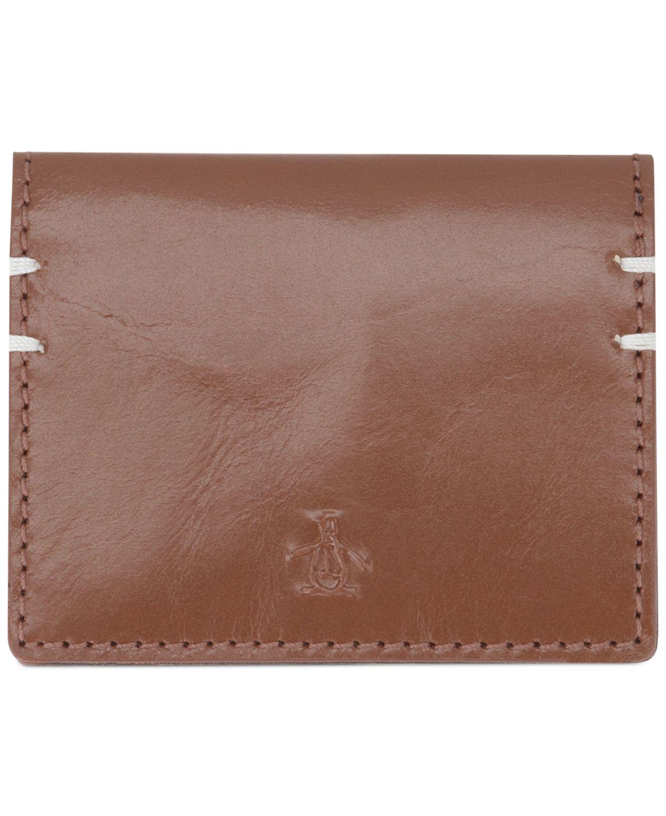 Lyst - Original Penguin Printed Business Card Wallet in Brown for Men