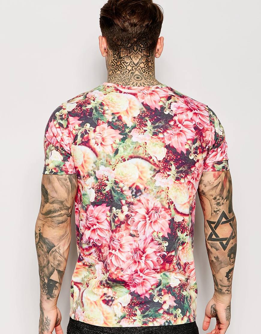 Hype Floral T-Shirt in Pink for Men | Lyst