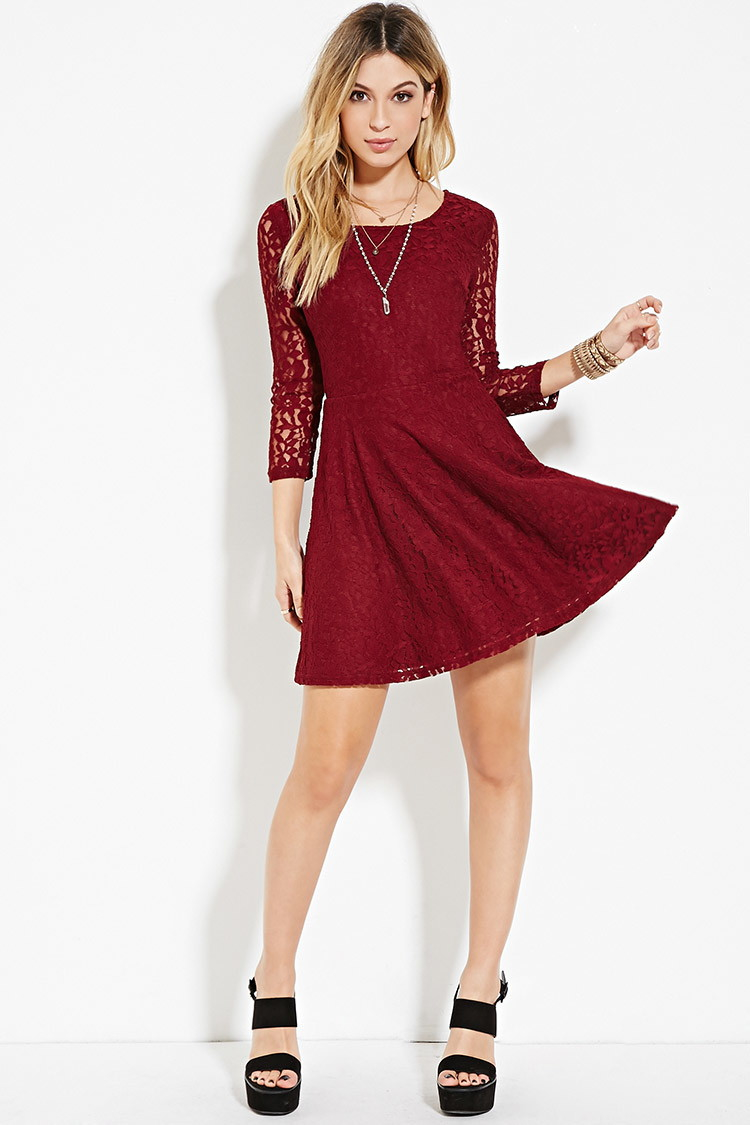 Forever 21 Lace Fit Amp Flare Dress In Purple Lyst