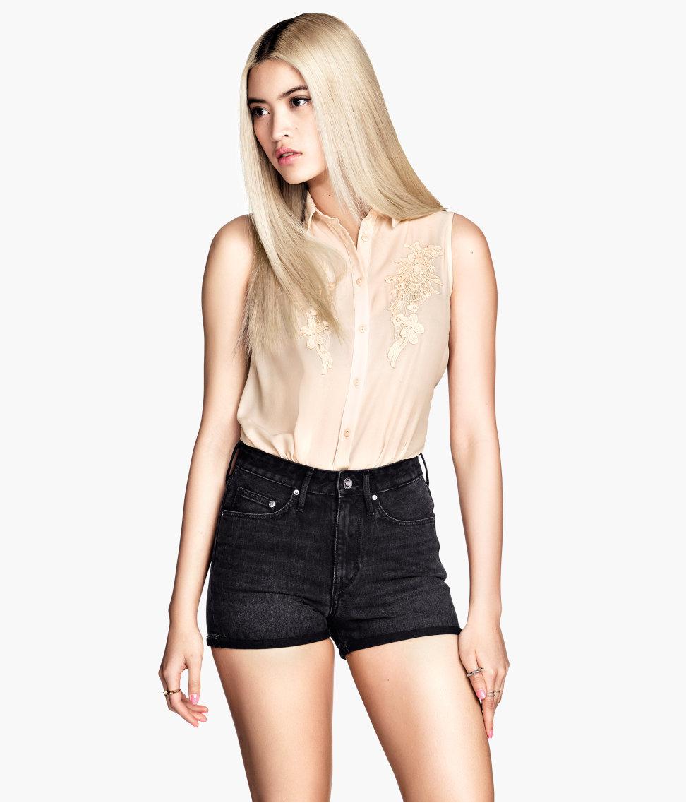 Lyst - Hu0026M Denim Shorts High Waist in Black