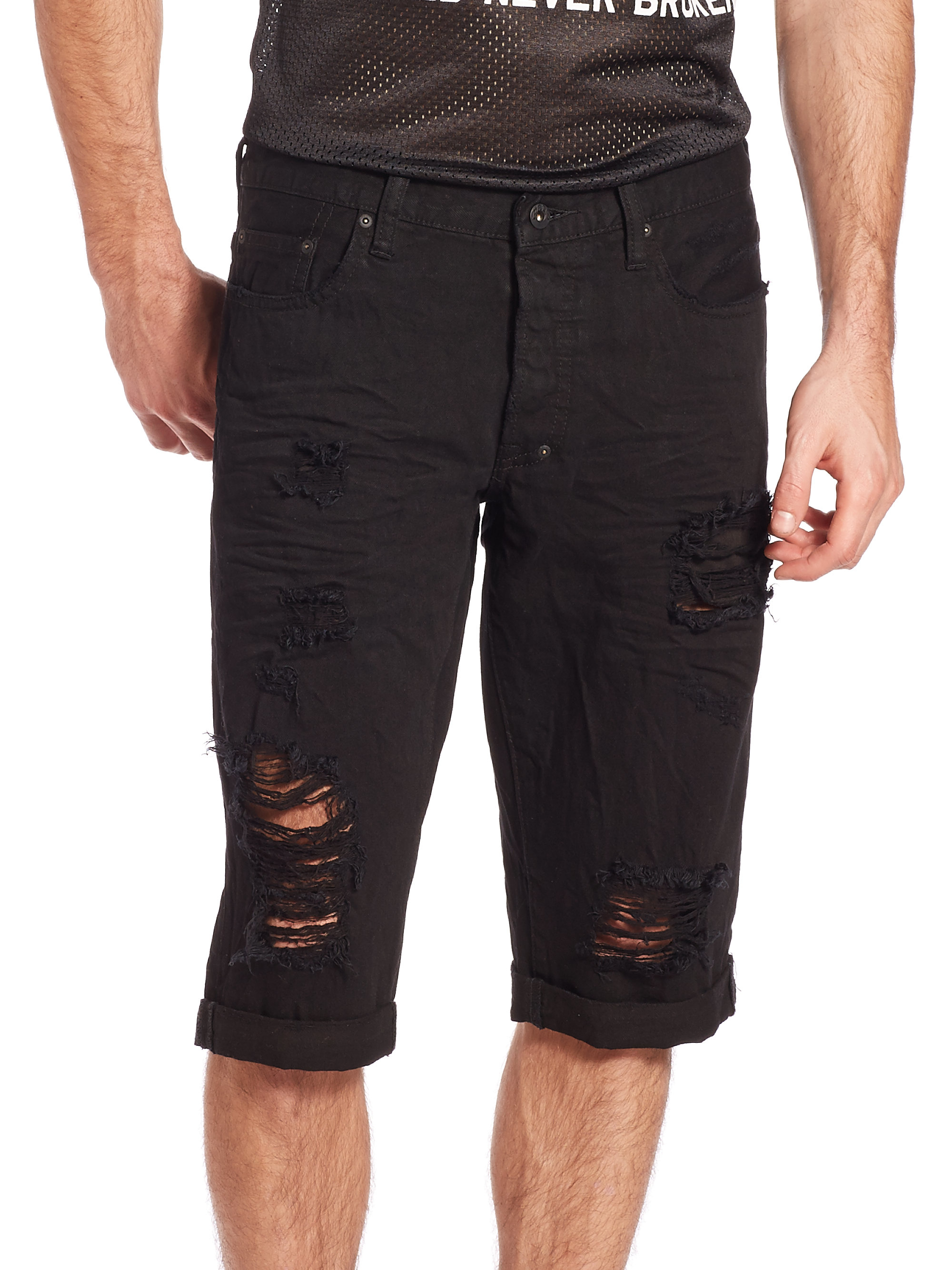 Prps Distressed Denim Shorts in Black for Men | Lyst