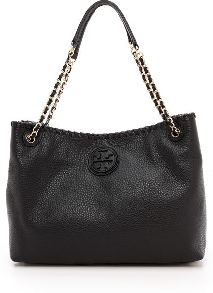 Tory Burch Marion Small Slouchy Tote Royal Tan In Black