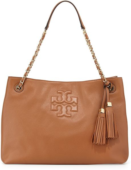 Tory Burch Thea Large Chain Tote Bag In Brown Bark