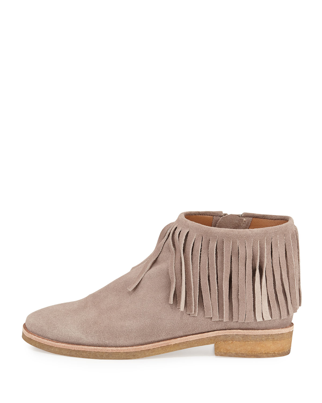 kate spade betsie suede fringe ankle boot in beige