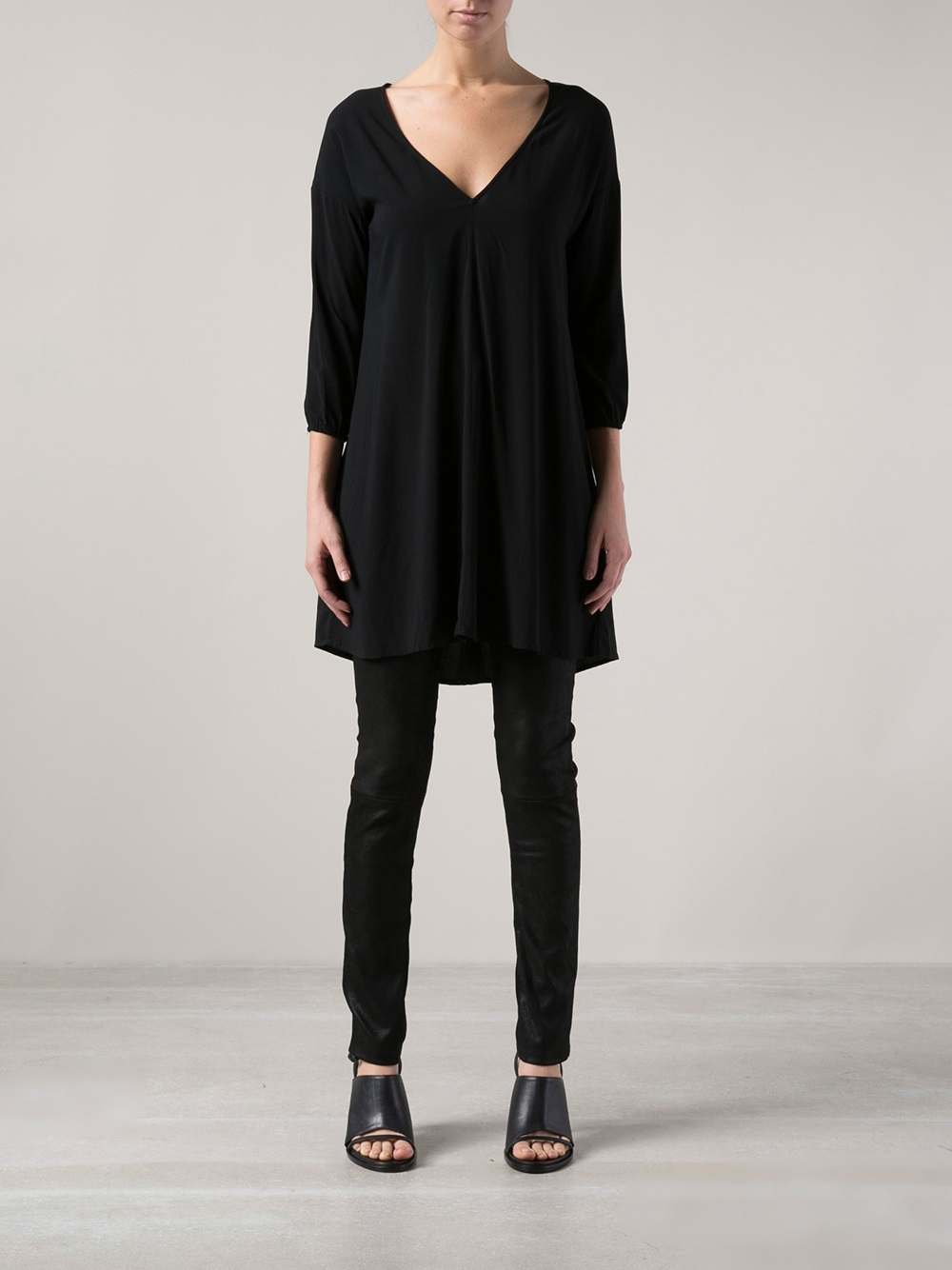 609c0ab8d45 James Perse V Neck Tunic Top in Black - Lyst
