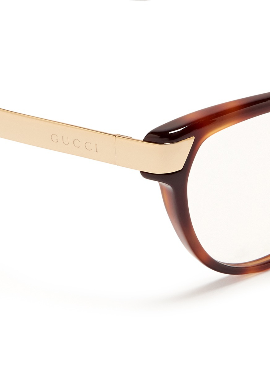 Gucci Wire Eyeglass Frames : Gucci Metal Arm Tortoiseshell Frame Optical Glasses in ...