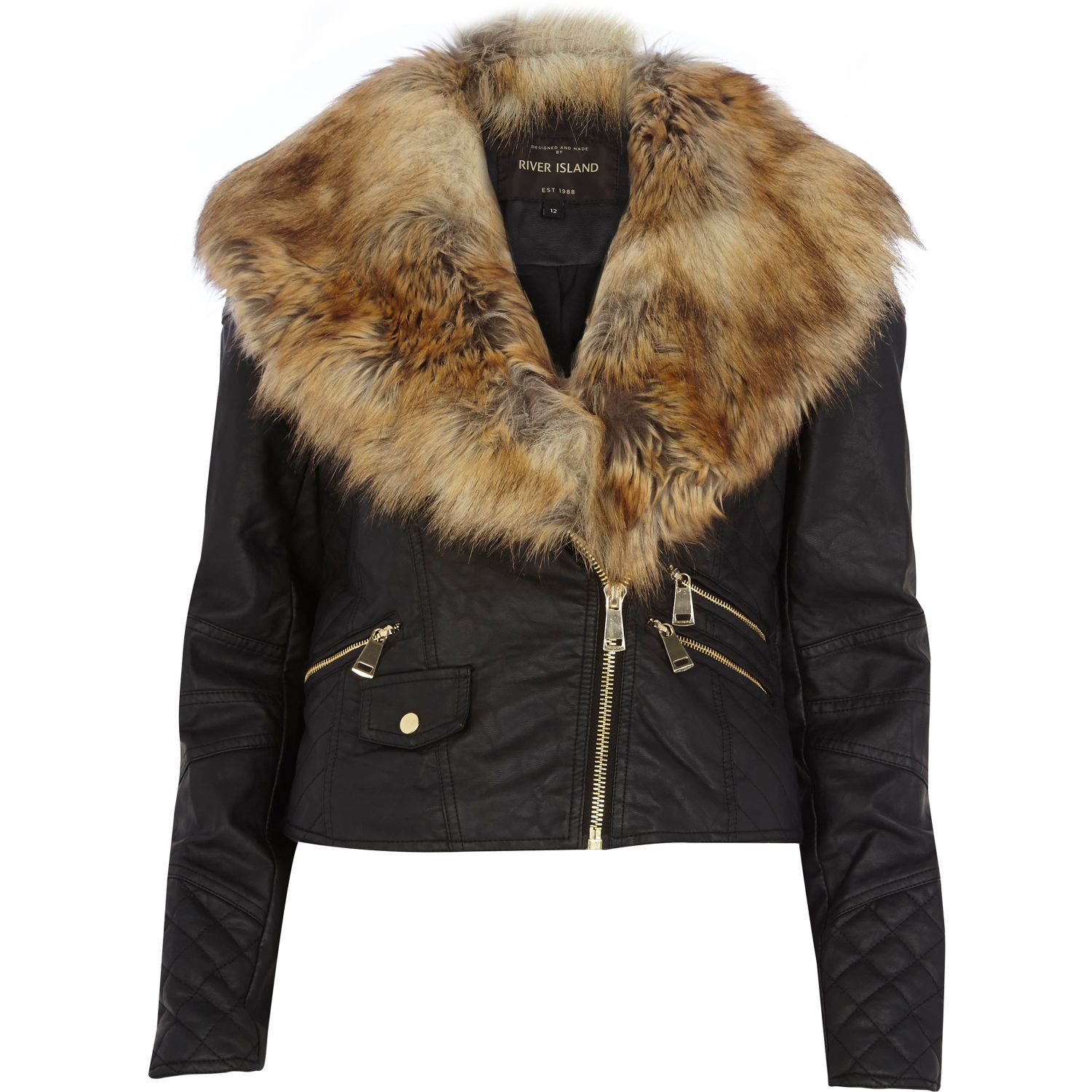black faux fur collar biker jacket river island