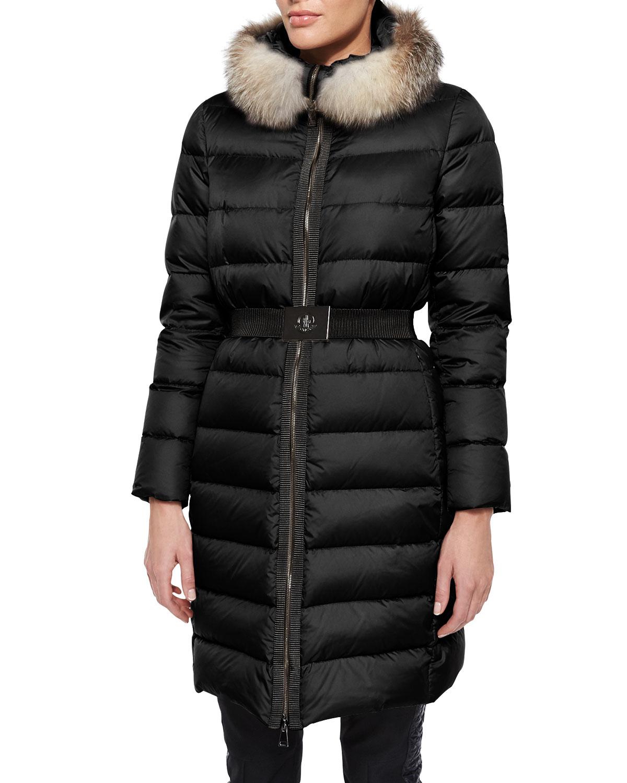 Moncler Fabrefox Fur Trim Puffer Coat With Belt In Black