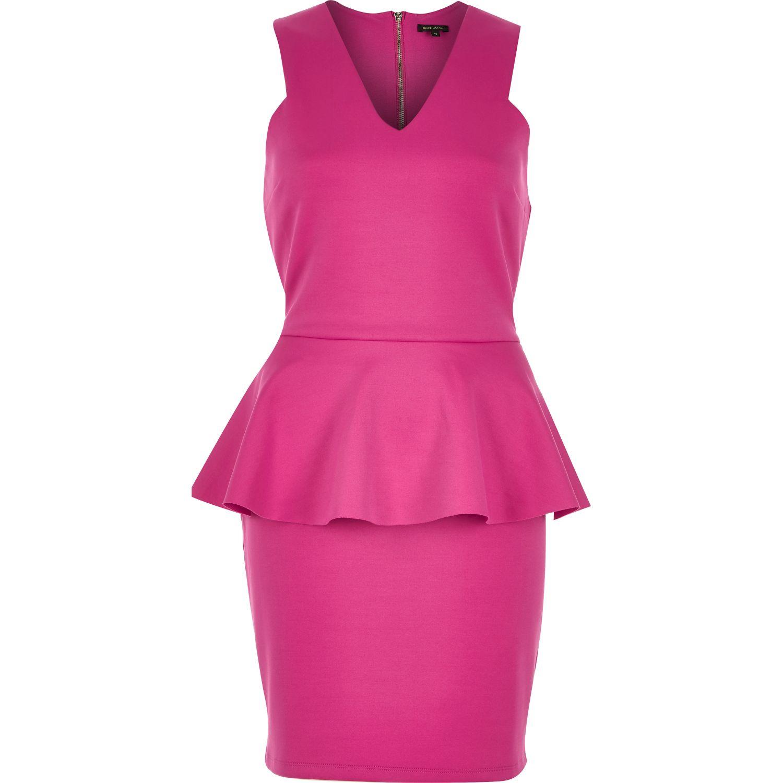 Pink and black peplum dress