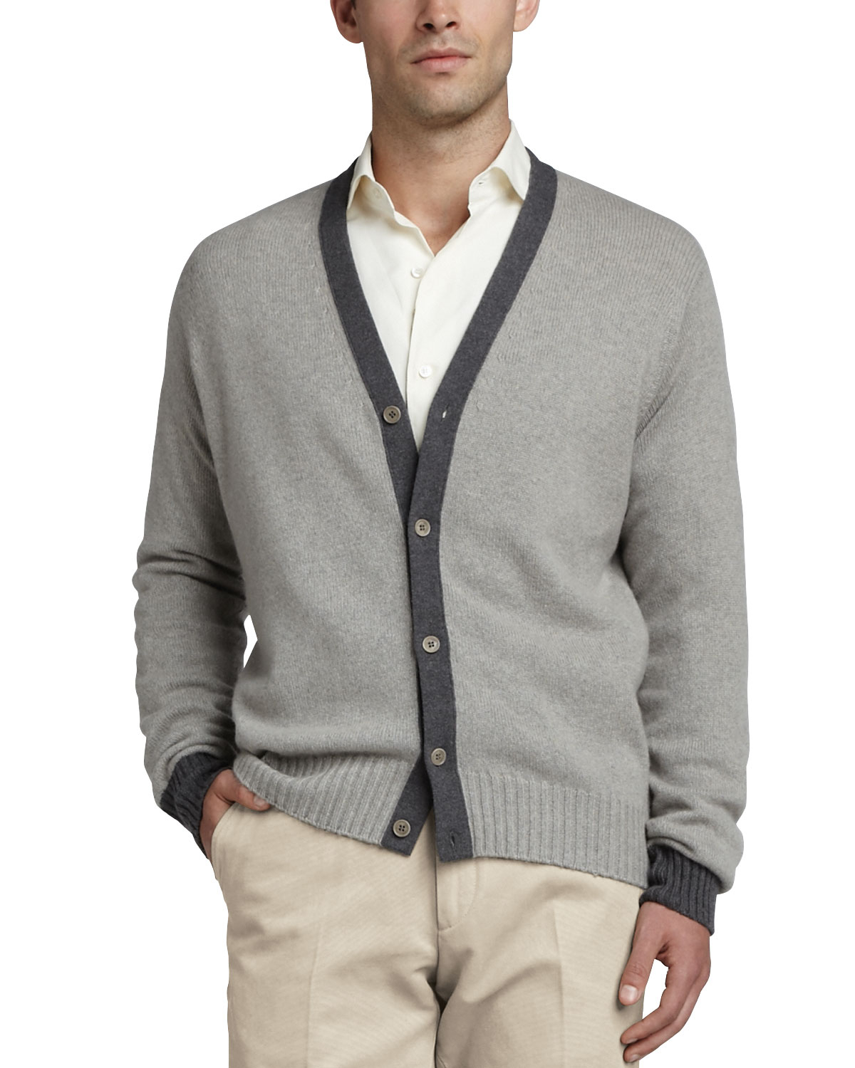 Loro piana Seamless Cashmere Cardigan in Gray for Men | Lyst
