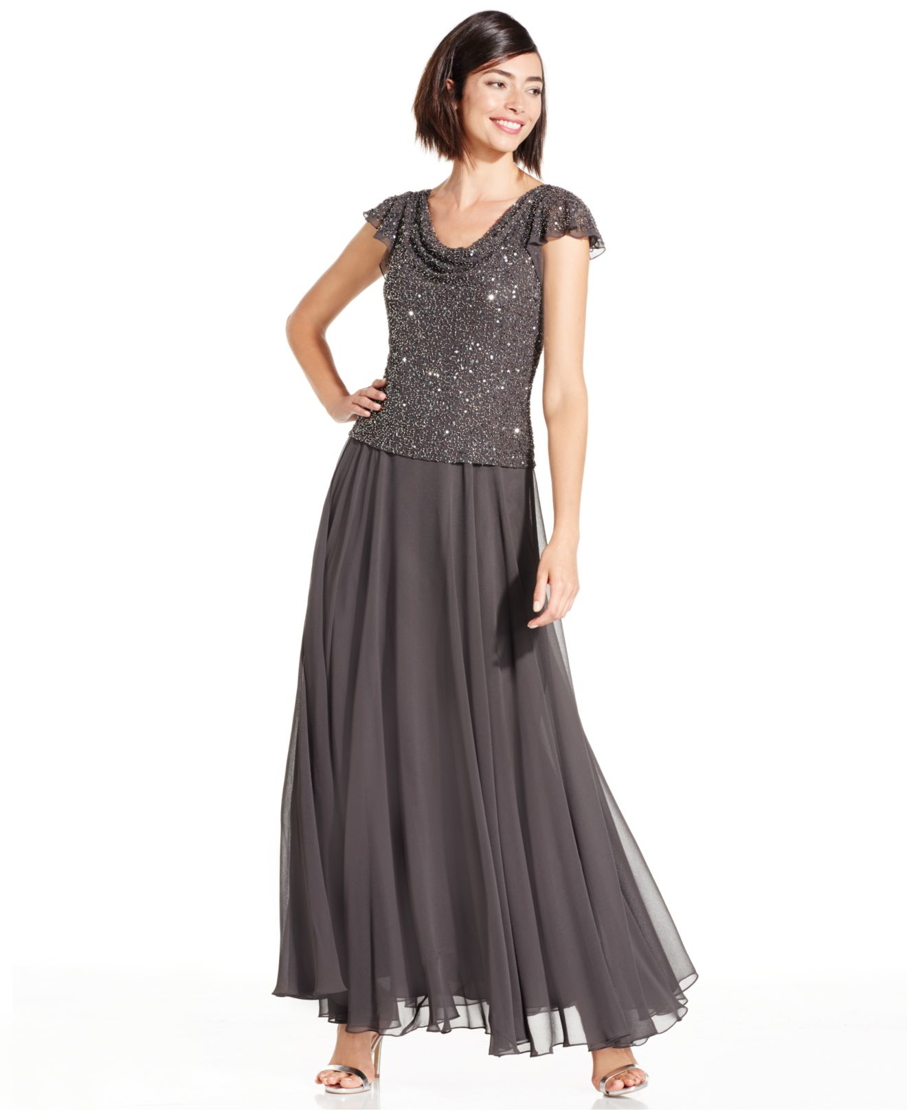 Lyst - J Kara Sequin-Encrusted Chiffon Gown in Gray