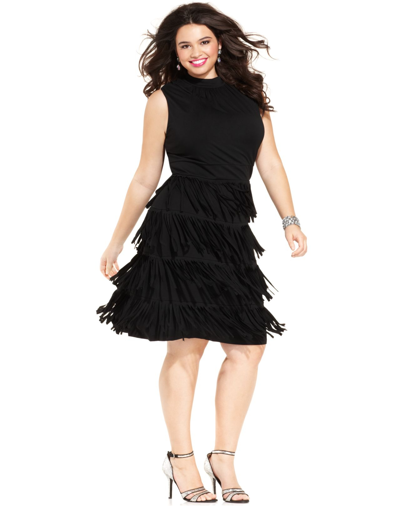 Black tiered dress plus size