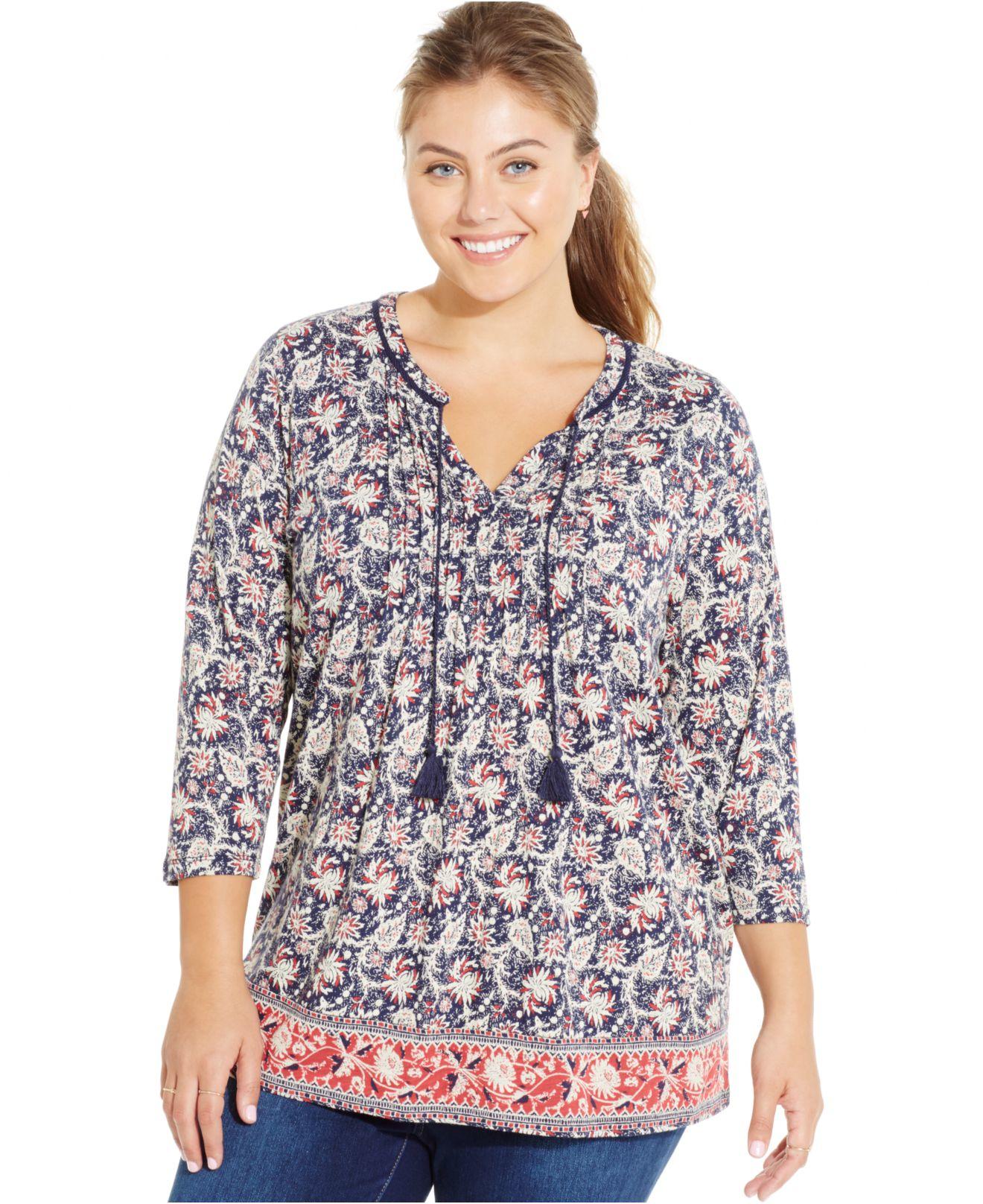 e82310f25588e9 Lyst - Lucky Brand Plus Size Border-print Floral Peasant Top
