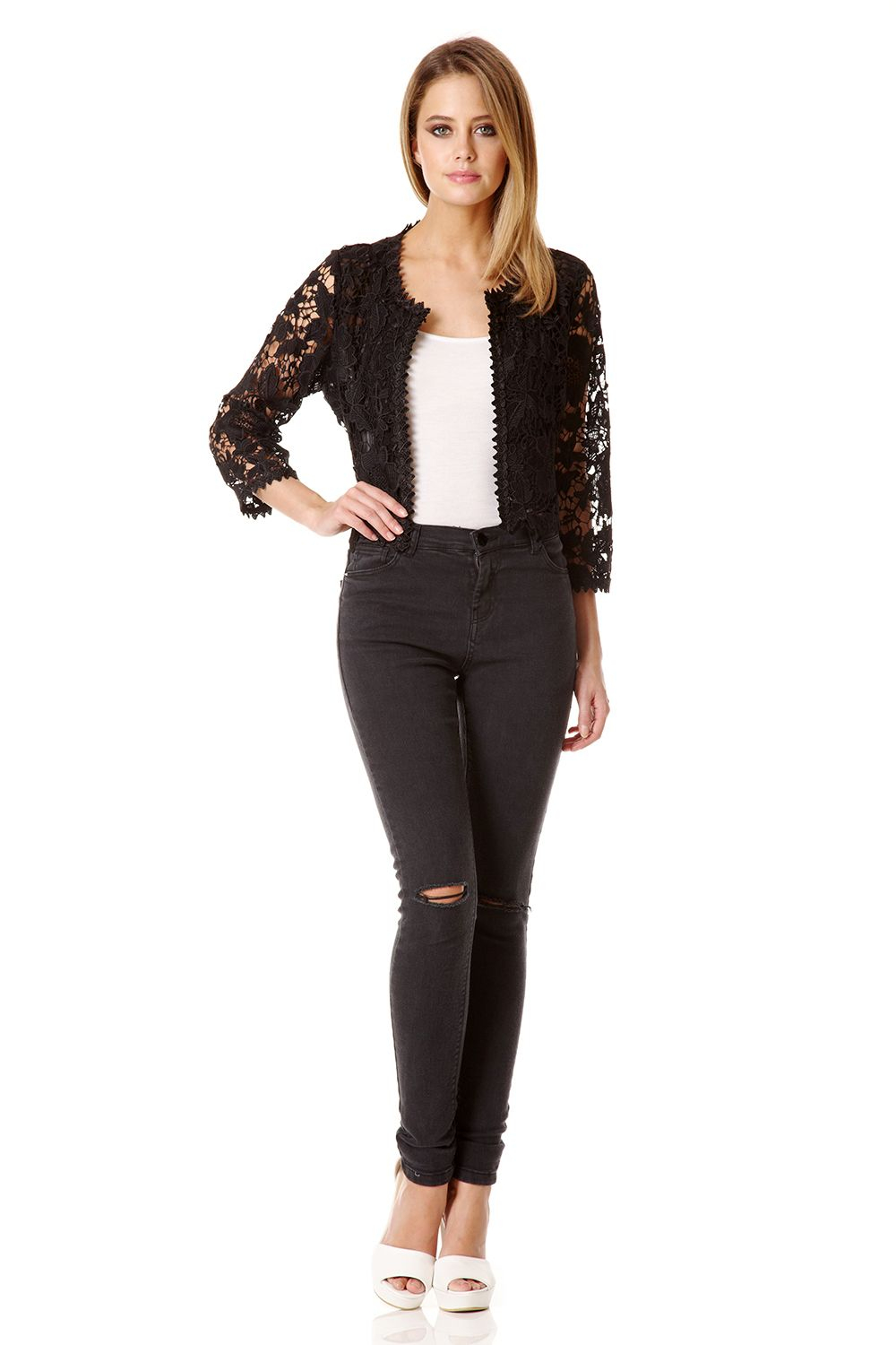 Quiz Black Lace Crop Jacket In Black Lyst