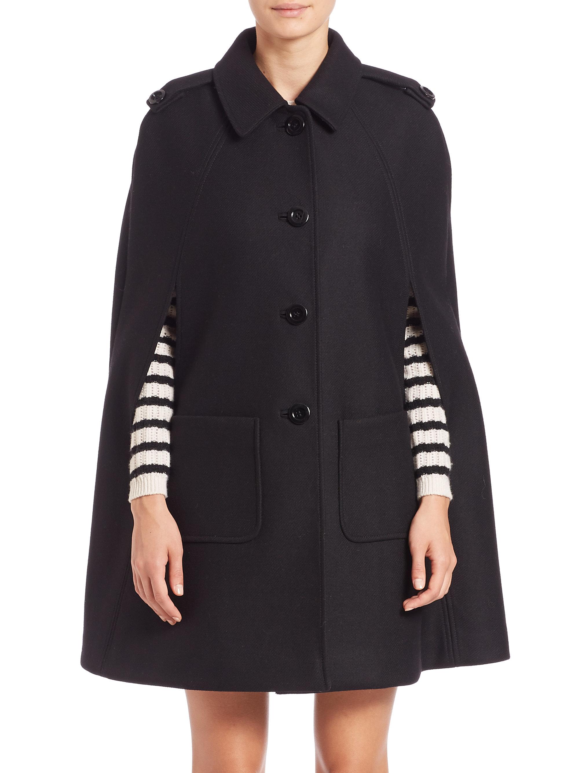 Lyst Red Valentino Cape Coat In Black