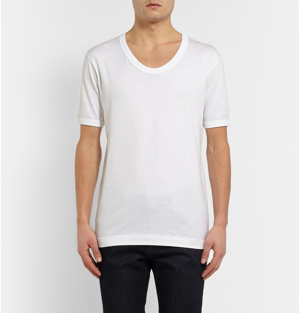 Dolce Gabbana Scoop Neck Cotton Jersey T Shirt In White