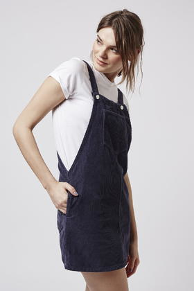 Topshop Moto Navy Cord Pinafore Dress In Blue Lyst