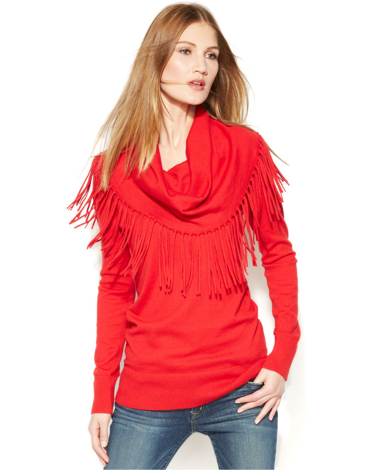 Michael kors Michael Fringed Cowl-Neck Sweater in Red | Lyst