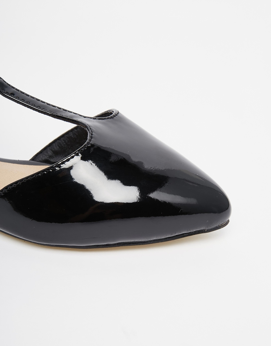 warehouse patent t bar flat shoes in black lyst