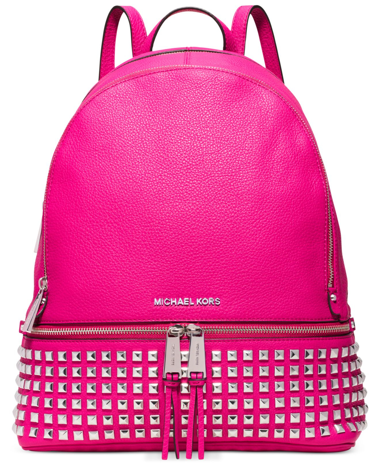 92d265def50ab4 Michael Kors Michael Rhea Zip Large Studded Backpack in Pink - Lyst