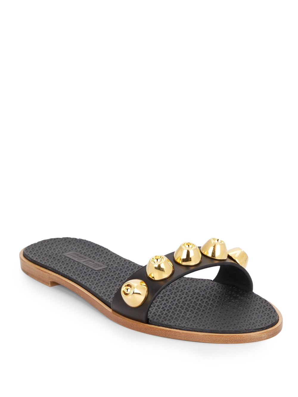 Miu Miu Leather Slide Sandals comfortable for sale WkLKN4bdC