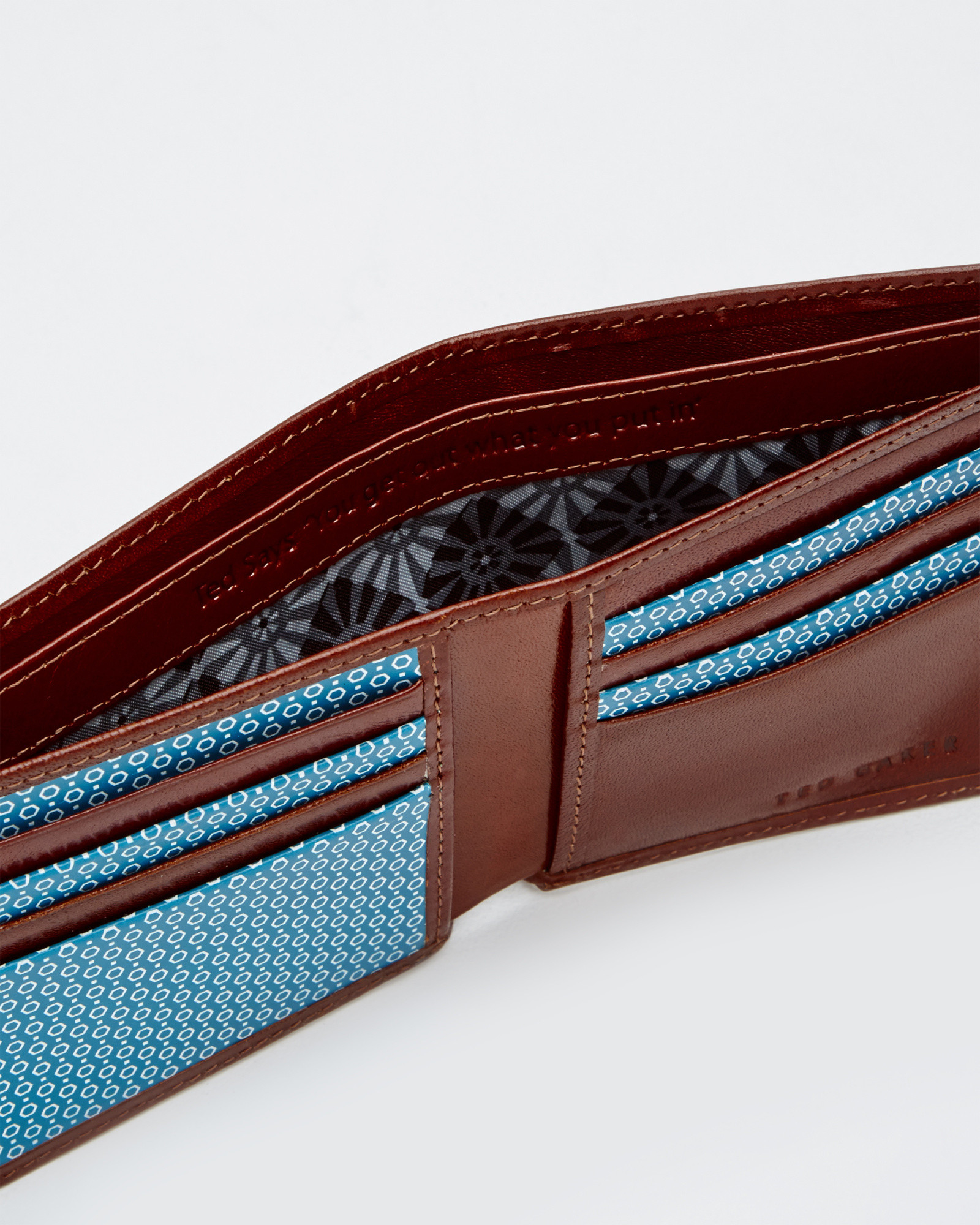 3b6f87213 Ted Baker Geo Print Leather Bi-fold Wallet in Brown for Men - Lyst