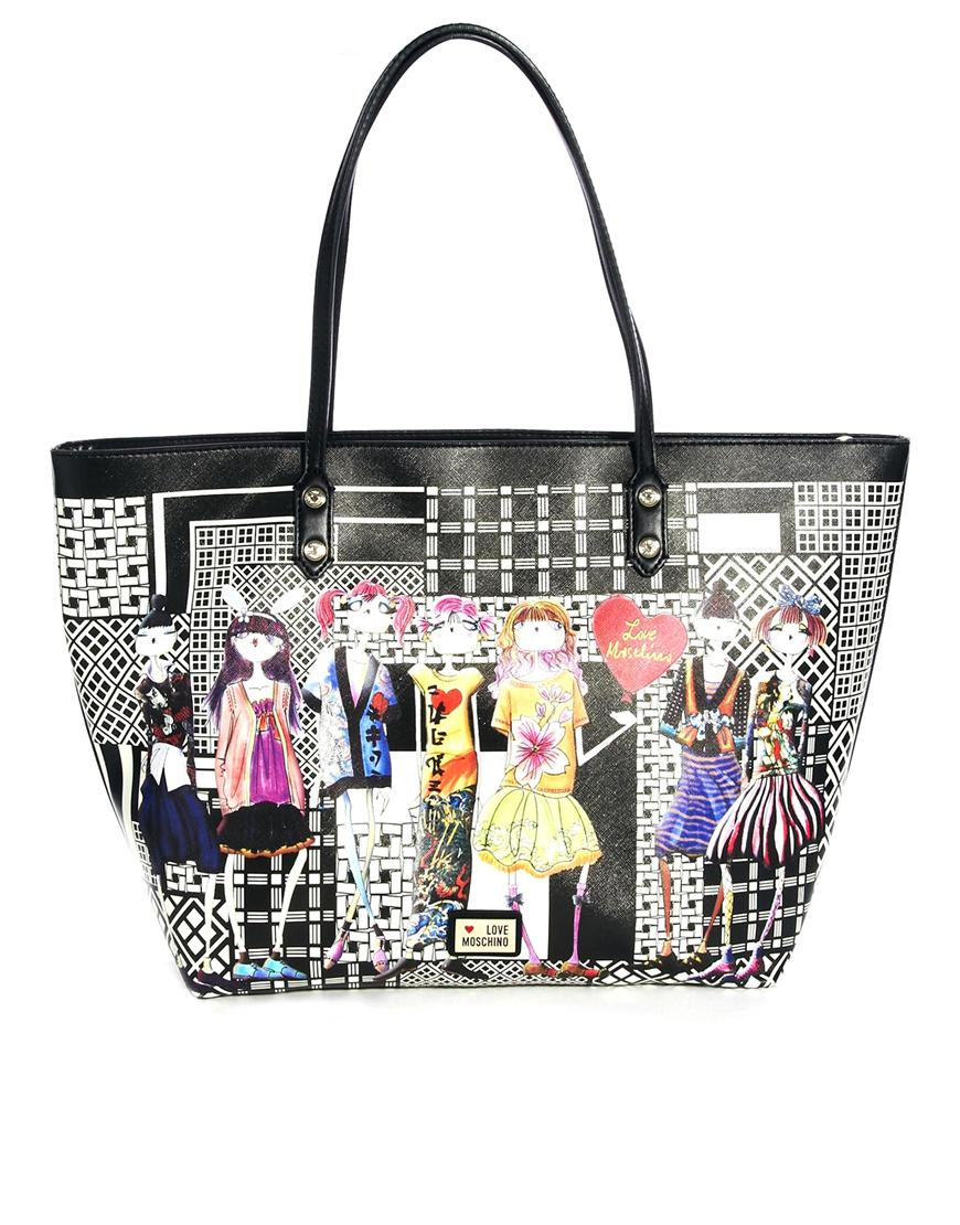 love moschino charming girls shopper bag in black lyst. Black Bedroom Furniture Sets. Home Design Ideas