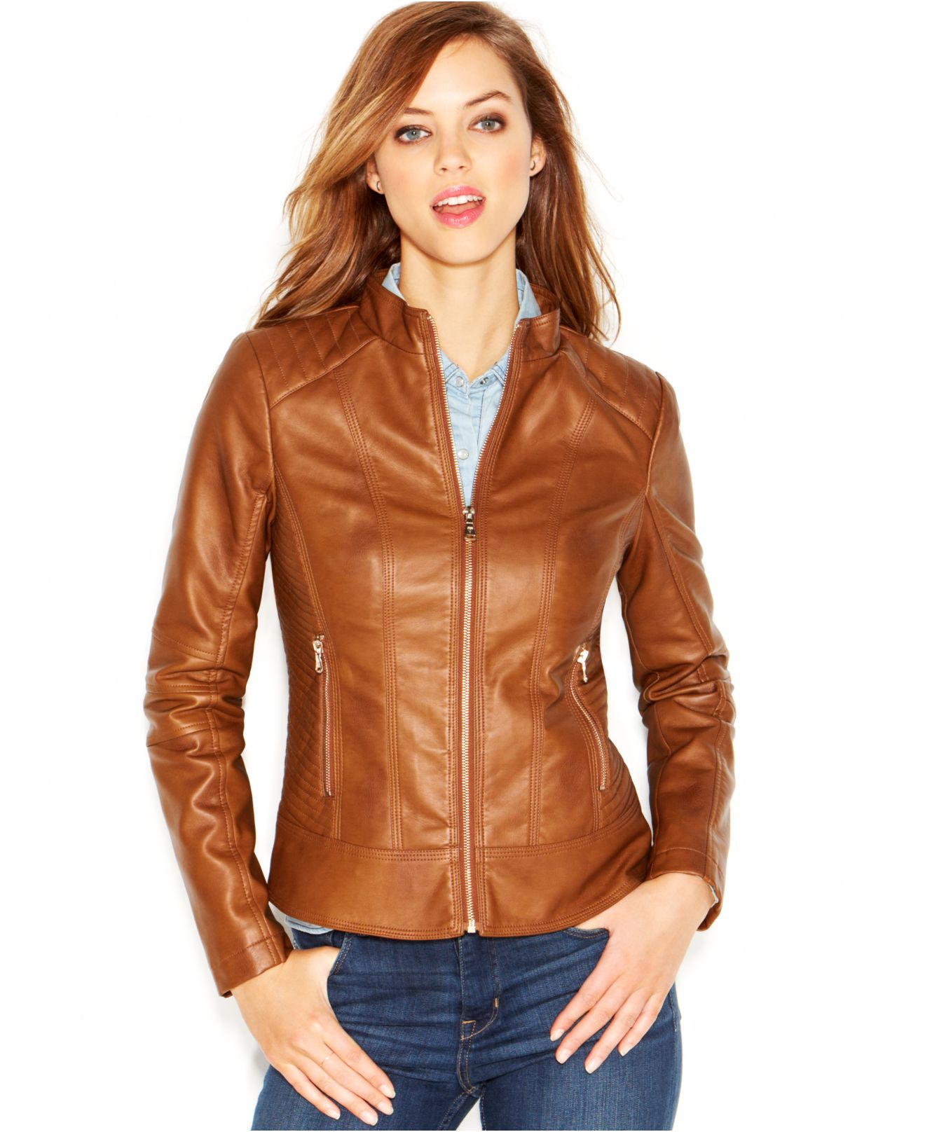 Brown faux leather jacket women
