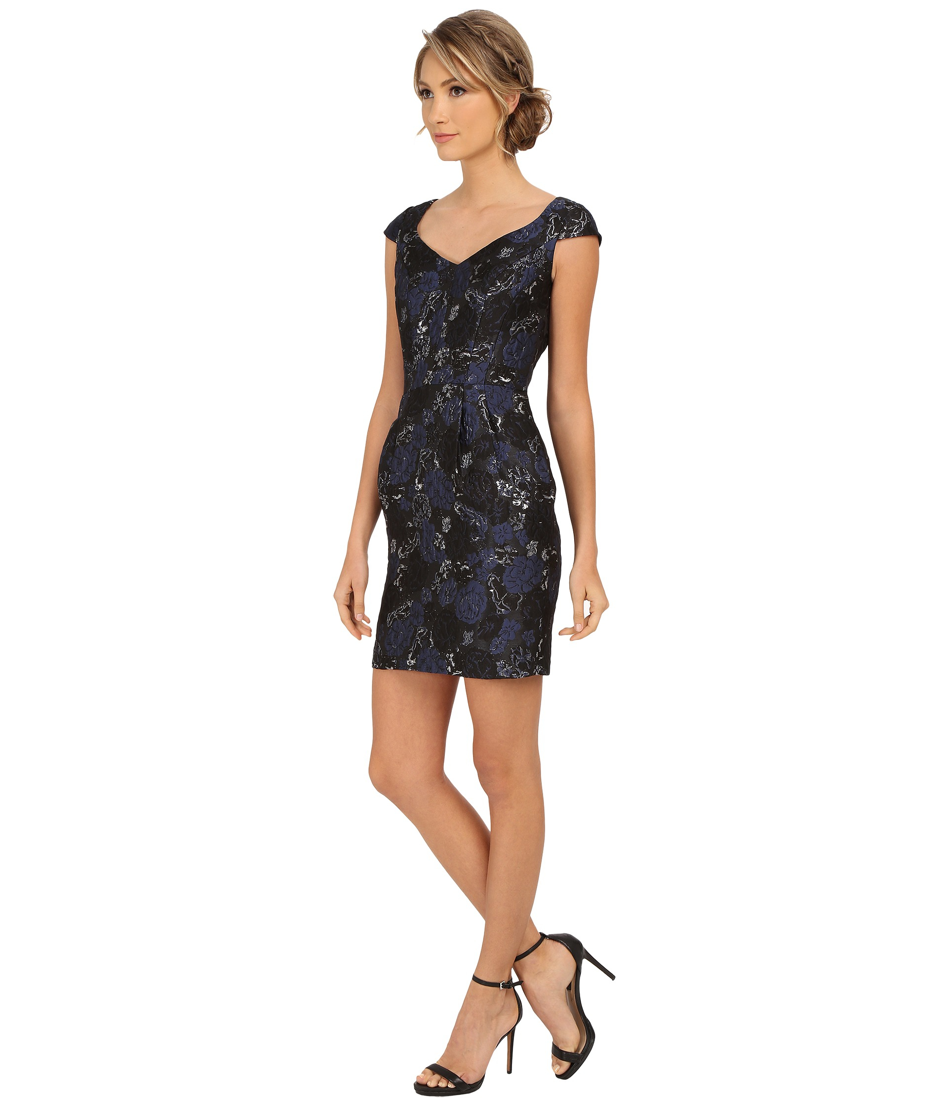 Lyst - Aidan Mattox Cap Sleeve Foil Jacquard Cocktail Dress