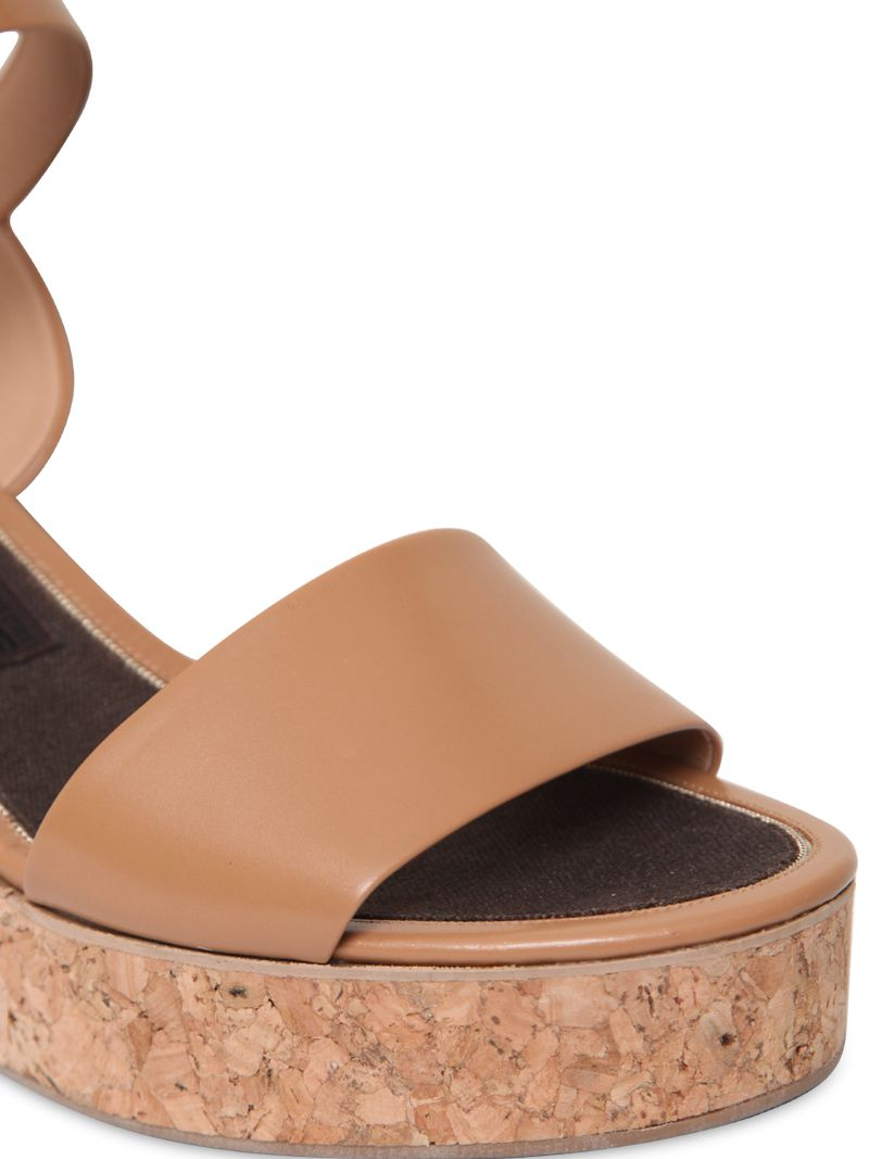 cdcd6f6debe Lyst - Ferragamo 80Mm Madea Leather   Cork Wedges in Brown