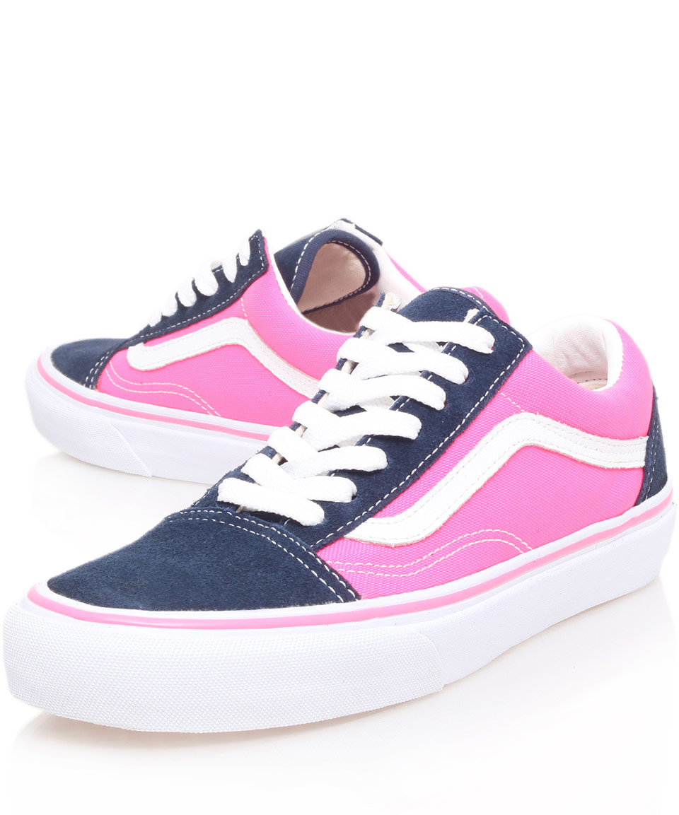 Lyst Vans Navy And Pink Old Skool Trainers In Blue For Men