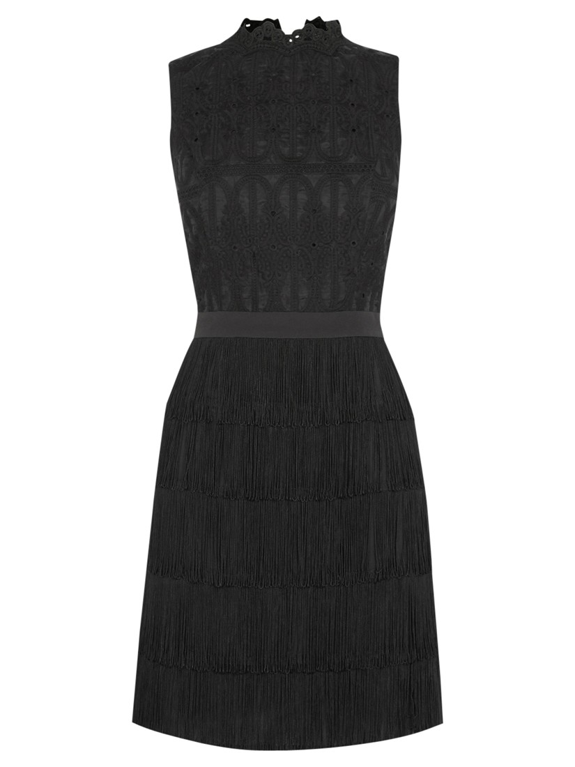 ce5ed6b74849 Oasis Lace Fringed Shift Dress in Black - Lyst