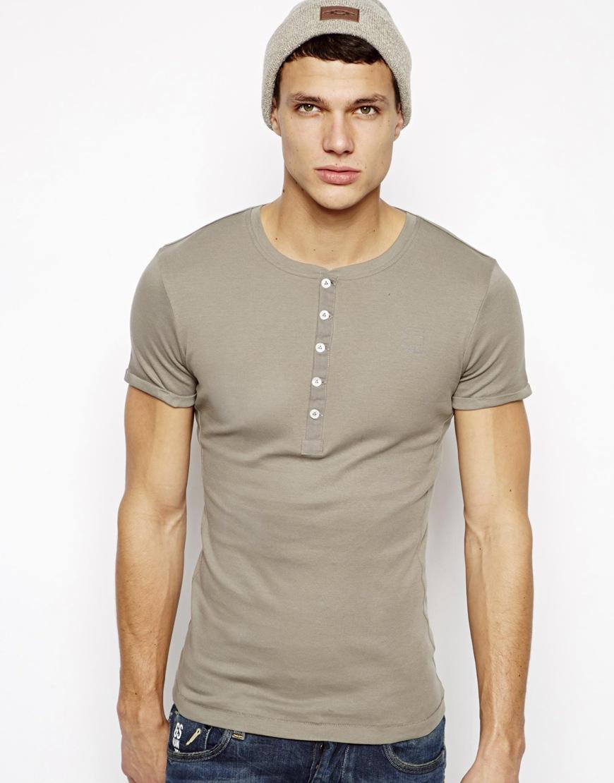g star raw g star henley t shirt in gray for men lyst. Black Bedroom Furniture Sets. Home Design Ideas