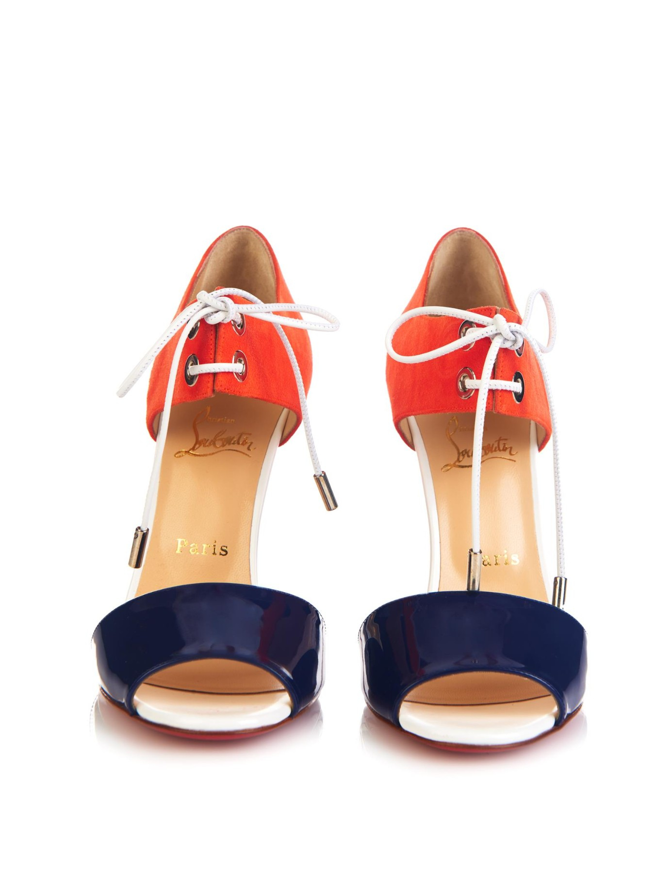Christian louboutin Mayerling Patent Leather and Suede Sandals in ...