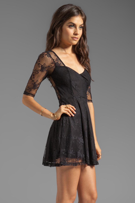 Jarlo Juno 34 Sleeve Lace Mini Dress in Black in Black | Lyst