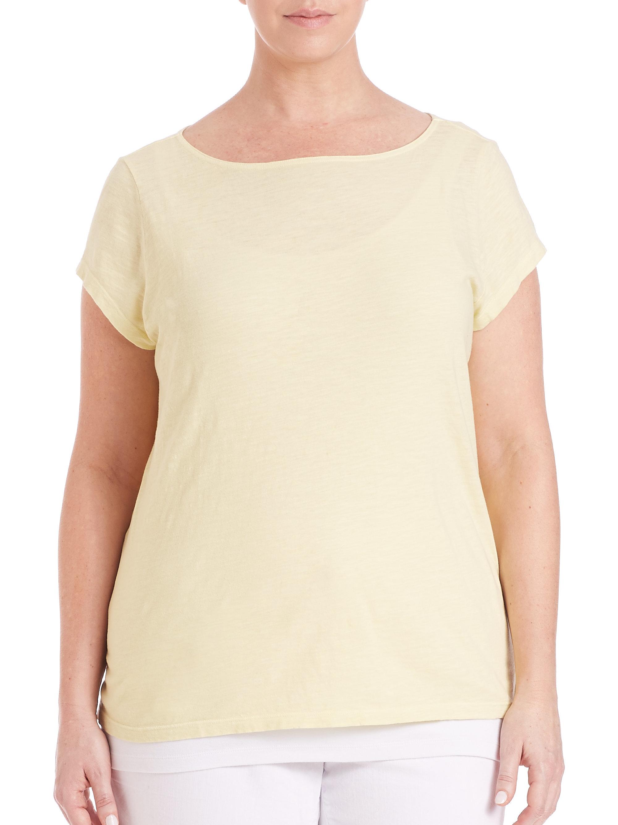 Eileen fisher slubby organic cotton jersey tee in natural for Eileen fisher organic cotton t shirt