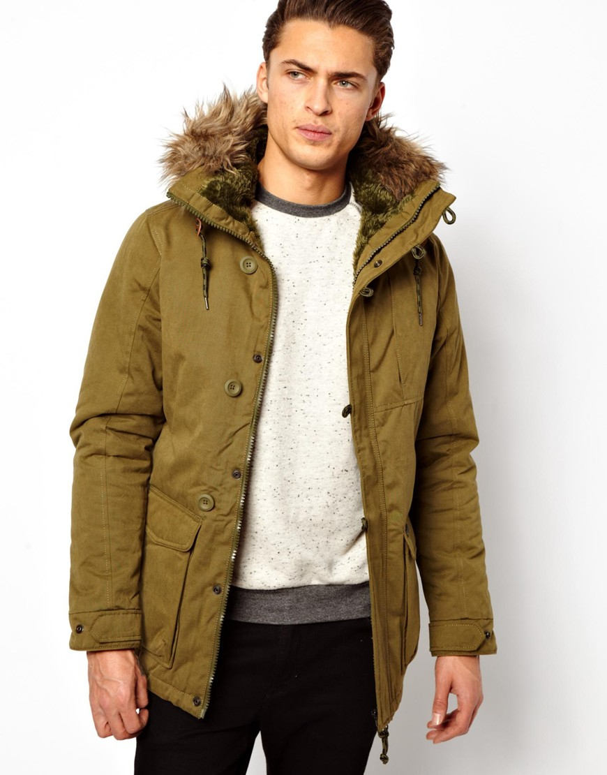 Pull&ampbear Parka Jacket in Green for Men | Lyst